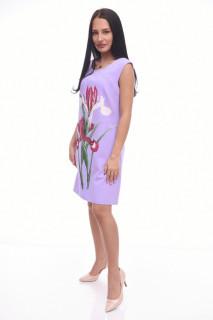 Rochie mini eleganta lila cu imprimeu floral