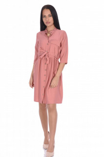 Rochie tunica cu cordon-roz corai-