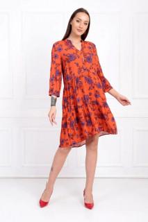 Rochie tunica cu imprimeu floral-corai-