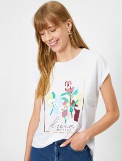 Tricou dama casual cu imprimeu floral - alb