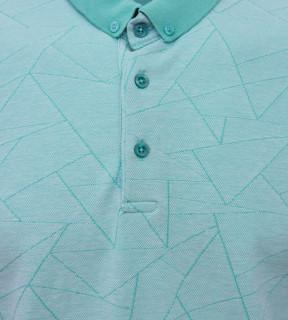 Tricou Polo Barbati Regular Fit Tony Montana- Geometric -turcoaz
