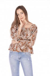 Bluza elastica cu imprimeu si umerii goi-caramiziu-