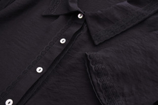 Camasa cu dantela aplicata-negru-