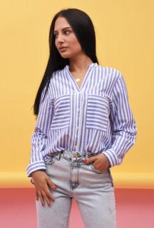 Camasa dama Karol stil tunica cu dungi - bleumarin