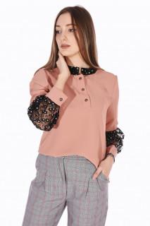 Camasa eleganta cu broderie si paiete- roz corai-E-