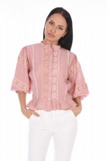 Camasa eleganta cu flori brodate- roz-E-