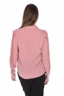 Camasa eleganta cu volane si dantela pe umeri-roz corai-
