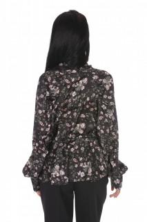Camasa eleganta satinata cu imprimeu floral- negru-E-
