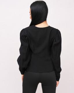 Camasa neagra cu maneci bufante