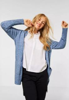 Cardigan din tricot gros cu buzunare - albastru- E