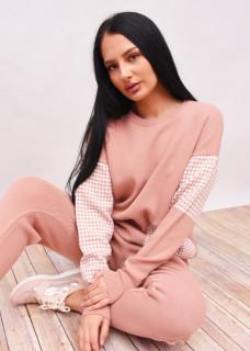 Compleu dama din doua piese din tricot roz cu imprimeu