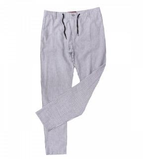 Pantaloni din in cu dungi bleo