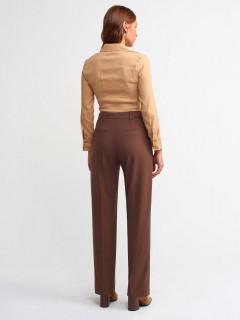 Pantaloni drepti cu talie inalta si pliuri