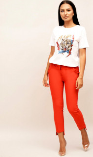 Pantaloni rosii cu capsa