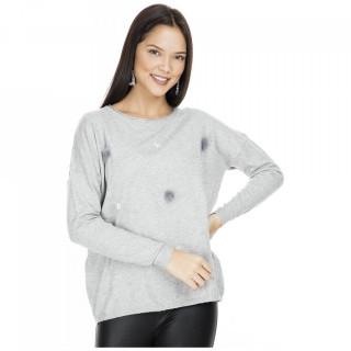 Pulover din tricot fin cu aplicatii- gri