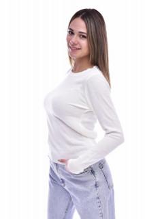 Pulover subtire din tricot fin - alb-E-