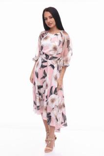 Rochie asimetrica eleganta -FLORA-roz