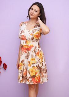 Rochie dama mini de vara cu imprimeu floral- Grace- galbena
