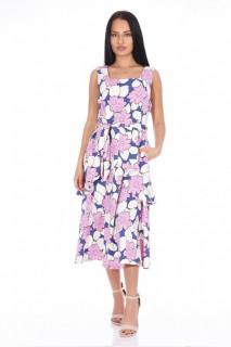 Rochie din vascoza cu imprimeu floral si volane