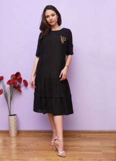 Rochie midi casual brodata cu accesoriu - negru