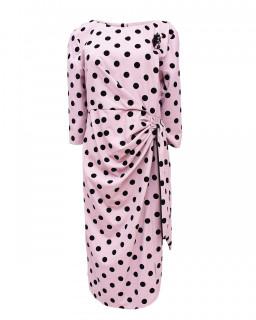 Rochie midi cu buline si accesoriu - Marimi mari -