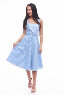 Rochie midi de zi in carouri Clara- albastru-
