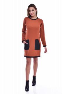 Rochie midi din tricot cu buzunare - caramiziu