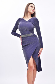 Rochie midi eleganta cu sclipici - bleumarin