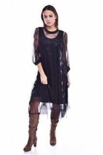Rochie midi eleganta din tulle cu imprimeu - negru