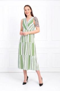 Rochie midi lejera cu imprimeu - Anisia- verde