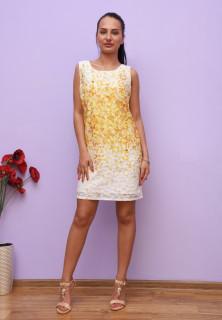 Rochie mini cu imprimeu floral - galben