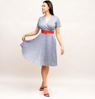Rochie plisata cu dungi si curea