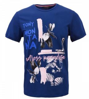 Tricou Casual Barbati Slim Fit Tony Montana- Endless Paradise - bleumarin