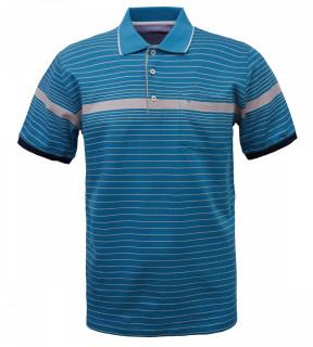 Tricou Polo Barbati Regular Fit Wellalux cu dungi - albastru