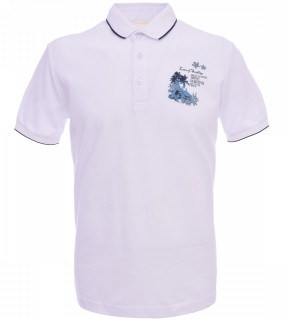 Tricou Polo Barbati Slim, Fit Tony Montana -Love Surfing -alb