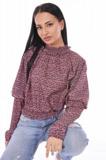 Bluza cu guler inalt si imprimeu floral-roz-E-