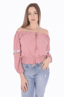 Bluza dama cu umerii goi si maneca lunga-roz corai-