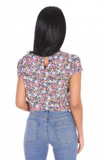 Bluza din vascoza cu imprimeu floral-roz-E-