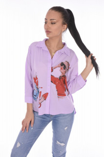 "Camasa casual "" Love Fashion ""-lila-"