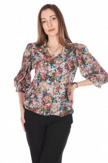 Camasa dama eleganta cu imprimeu floral-turcuoaz-E