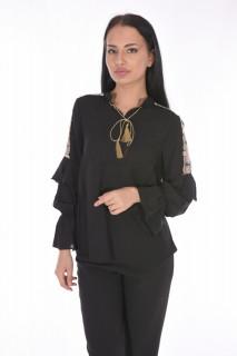 Camasa eleganta cu broderie florala pe umeri-negru-E-