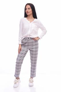 Pantaloni dama casual conici in carouri -gri-