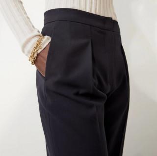 Pantaloni eleganti lejeri bleumarin-E-