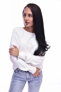 Pulover din tricot fin cu detalii pe maneci - alb-E-