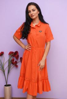 Rochie dama midi de vara vaporoasa cu volane si dantela Ariella- portocaliu