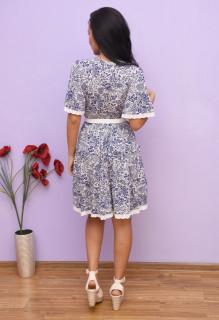 Rochie dama mini de vara cu imprimeu floral si volane -Lolita -albastru-