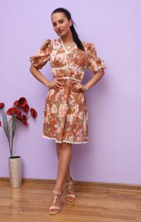 Rochie midi casual cu imprimeu floral maro