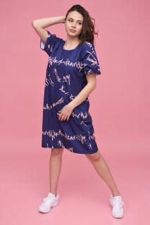 Rochie midi casual cu imprimeu Margo - bleumarin-