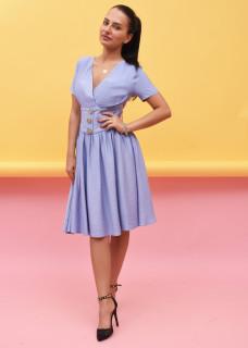 Rochie midi casual din vascoza - Daria - albastru