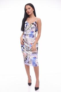 Rochie midi cu imprimeu geometric-albastru-E-